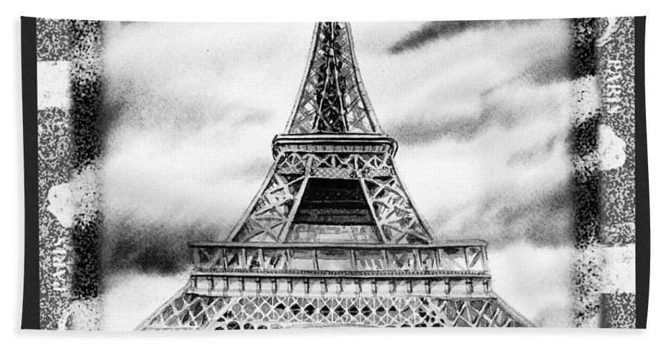 Eiffel Tower Bath Sheet featuring the painting Eiffel Tower In Black And White Design II by Irina Sztukowski