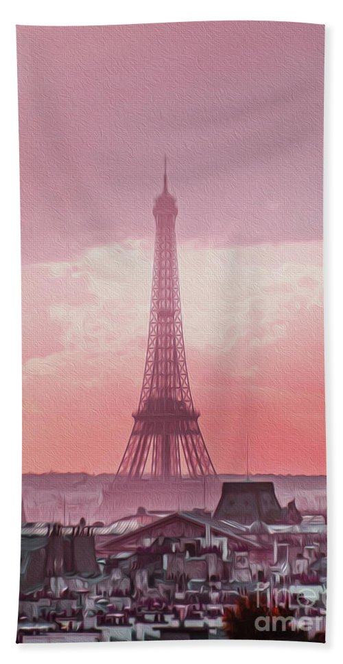 Paris Hand Towel featuring the photograph Eiffel Tower Sunset Art by Alex Art and Photo