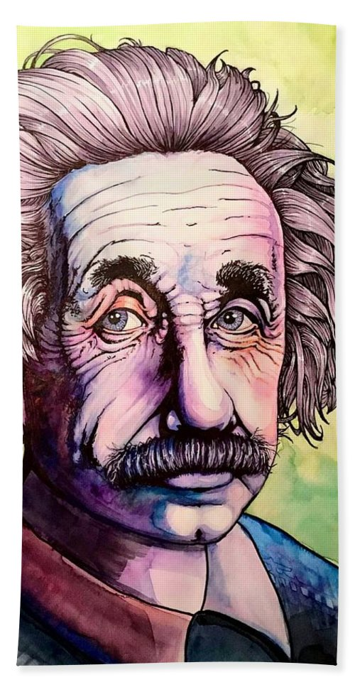 Science Bath Sheet featuring the painting Einstein by Carolyn Anderson