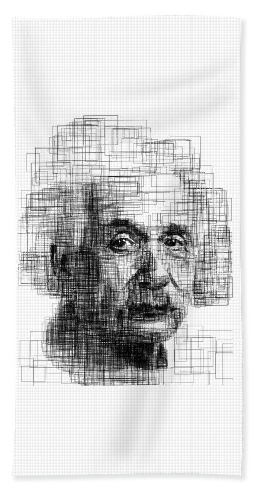 Portrait Bath Towel featuring the digital art Einstein by H B