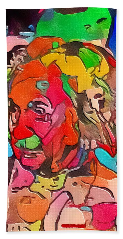 Einstein Hand Towel featuring the painting Einstein by Mark Taylor