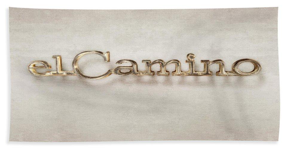 Automotive Bath Sheet featuring the photograph El Camino Emblem by YoPedro