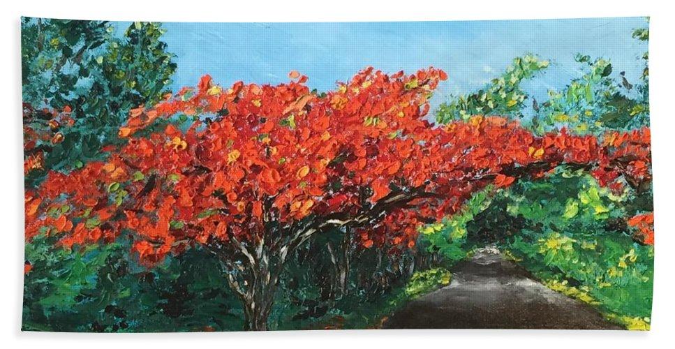 Flamboy�n Hand Towel featuring the painting El Flamboyan En Mi Camino by Melissa Torres