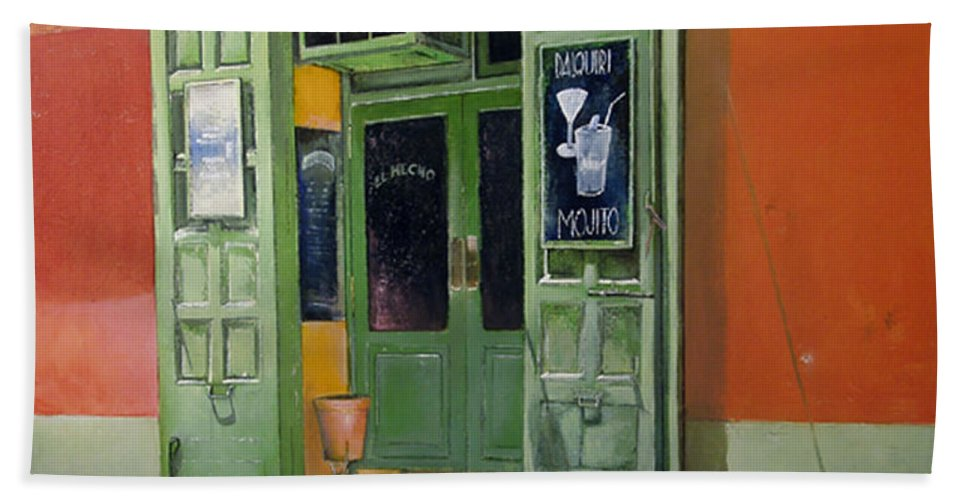 Hecho Bath Towel featuring the painting El Hecho Pub by Tomas Castano