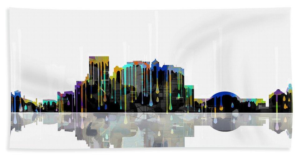 El Paso Mexico Skyline Bath Sheet featuring the digital art El Paso Mexico Skyline by Marlene Watson