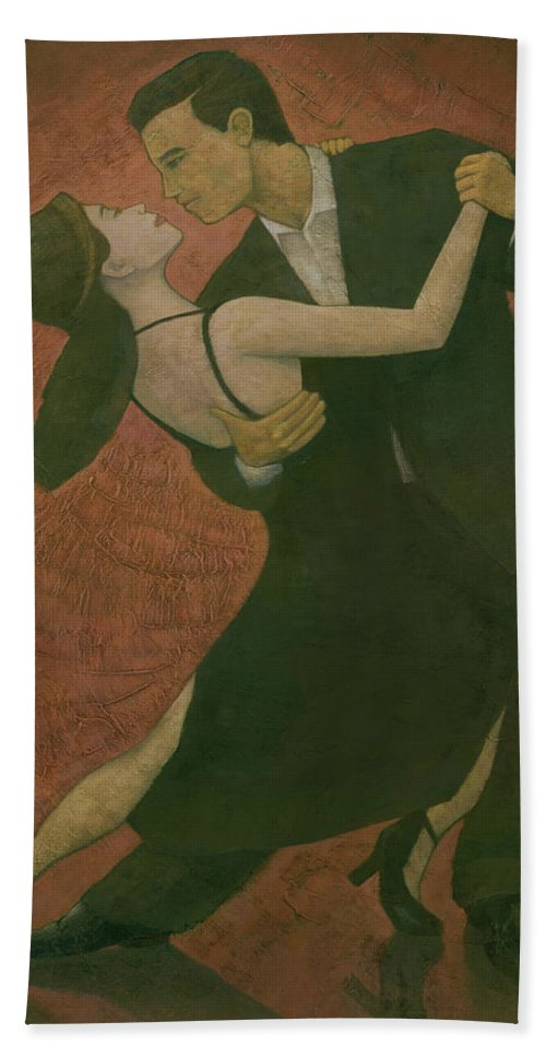 Tango Bath Towel featuring the painting El Tango by Steve Mitchell
