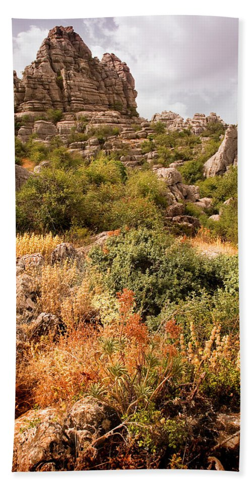 Limestone Bath Towel featuring the photograph El Torcal Rock Formations by Mal Bray