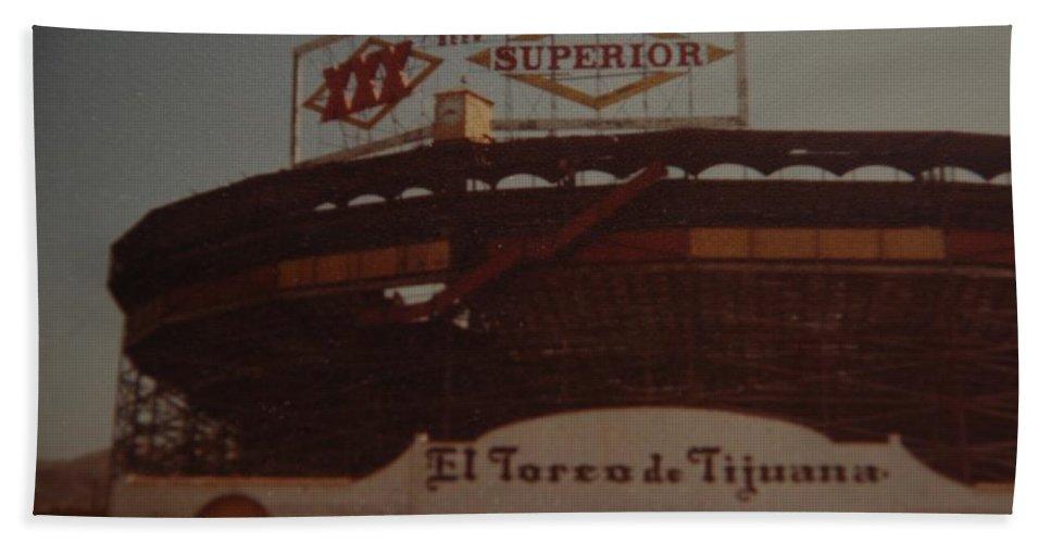Tijuana Mexico Bath Sheet featuring the photograph El Toreo De Tijuana by Rob Hans
