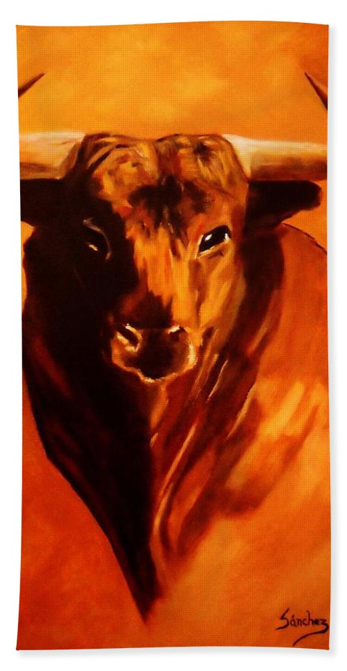 Bull Bath Sheet featuring the painting El Toro by Manuel Sanchez