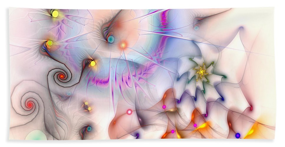 Abstract Hand Towel featuring the digital art Elan by Casey Kotas