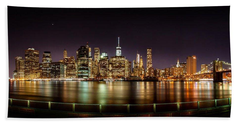 New York City Bath Sheet featuring the photograph Electric City by Az Jackson