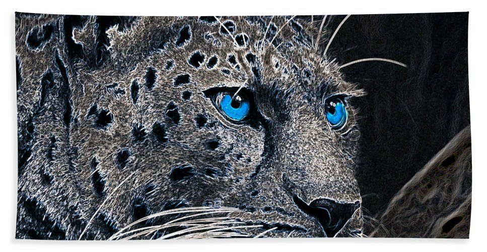 Leopard Hand Towel featuring the photograph Electric Leopard by Ericamaxine Price