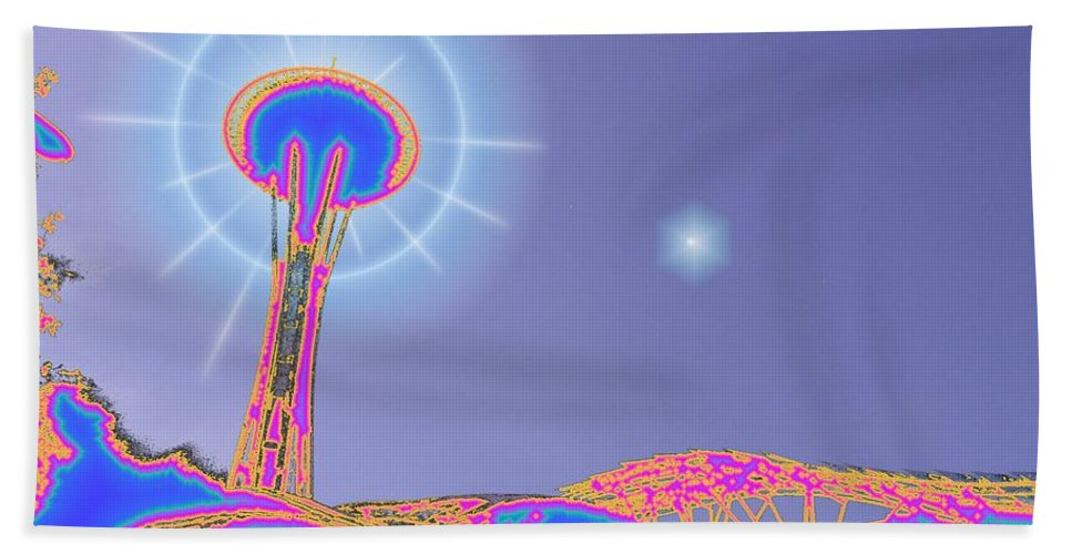 Seattle Hand Towel featuring the photograph Electric Needle by Tim Allen