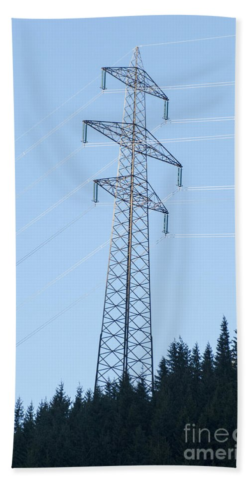 Electric Hand Towel featuring the photograph Electric Pylon On Blue Sky by Ilan Rosen