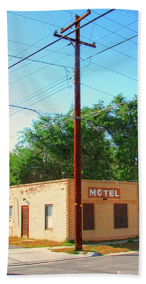 Old Motel Hand Towel featuring the mixed media Electromagnetic Motel by Dominic Piperata