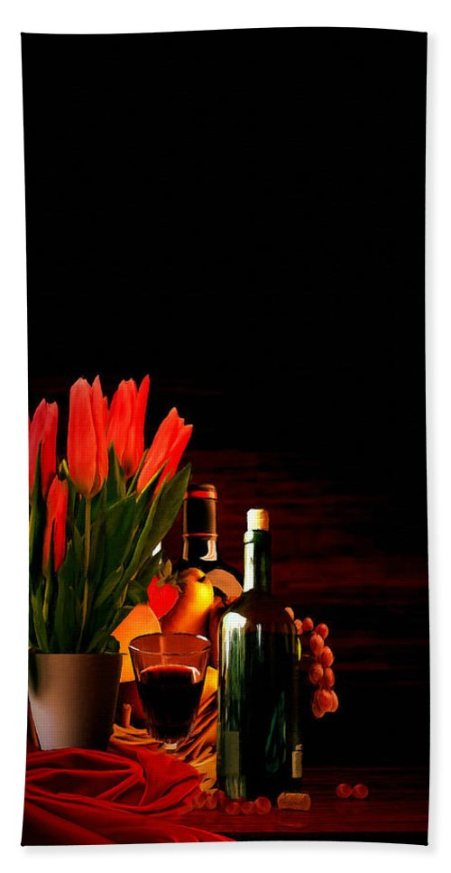 Wine Hand Towel featuring the painting Elegance by Lourry Legarde