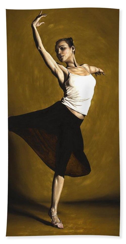 Elegant Bath Towel featuring the painting Elegant Dancer by Richard Young
