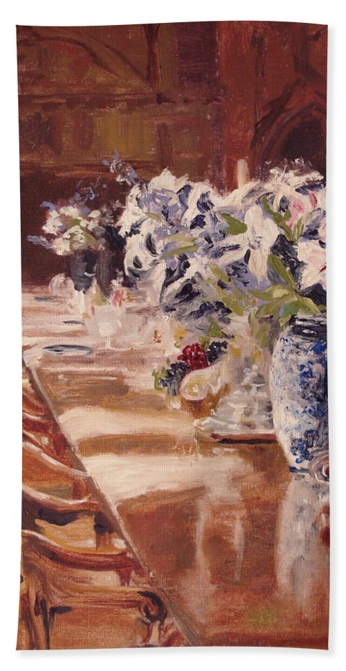 Vases Bath Sheet featuring the painting Elegant Dining At Hearst Castle by Barbara Andolsek