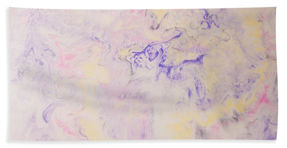 Abstracts Hand Towel featuring the painting Elegant Hand Made Ink Design In Purple And Yellow by Peter v Quenter