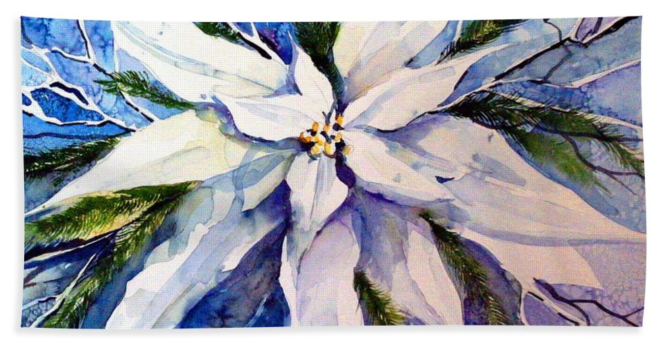 Christmas Bath Towel featuring the painting Elegant White Christmas by Mindy Newman