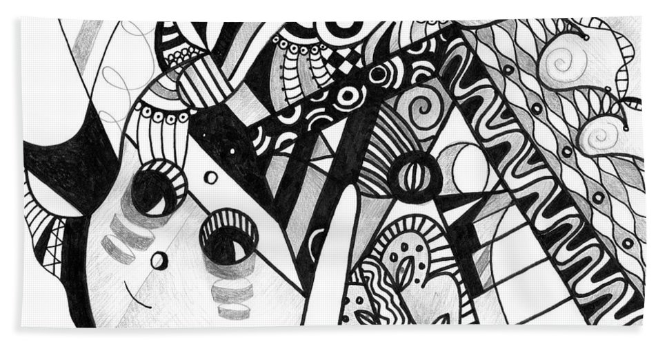 Abstract Bath Towel featuring the drawing Elements At Play by Helena Tiainen