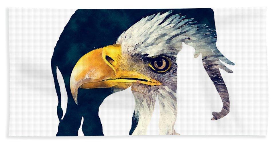 Elephant Hand Towel featuring the digital art Elephant And Eagle by Justyna JBJart