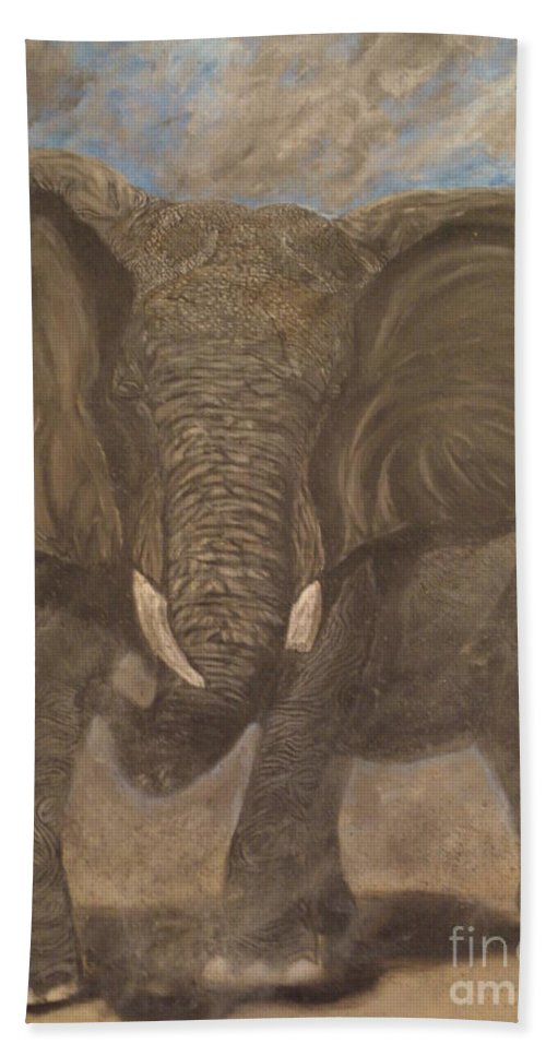 Elephant Hand Towel featuring the painting Elephant Charging by Nick Gustafson