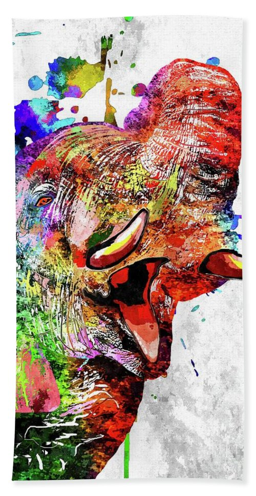 Elephant Colored Hand Towel featuring the mixed media Elephant Colored Grunge by Daniel Janda