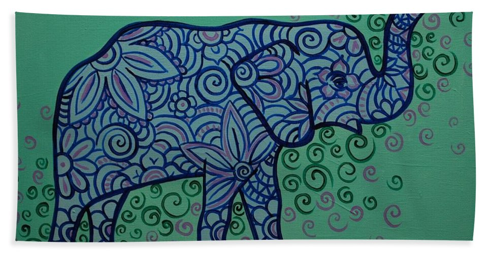 Elephant Bath Towel featuring the painting Elephant Dreams by Emily Page