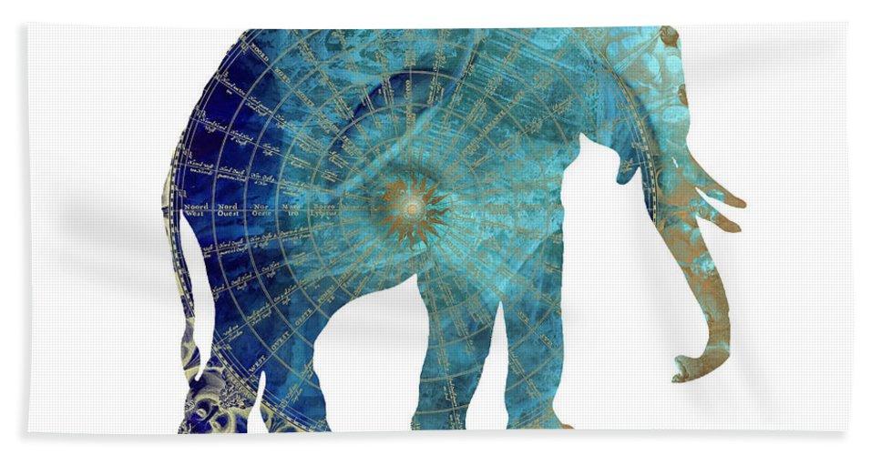 Elephant Hand Towel featuring the digital art Elephant Maps by Justyna JBJart