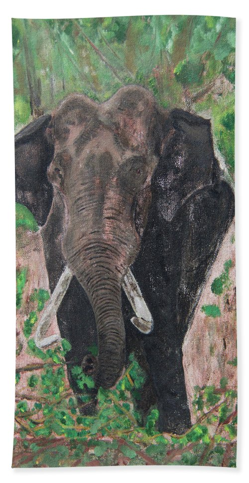 Hand Towel featuring the painting Elephant by Naveen Gopinath