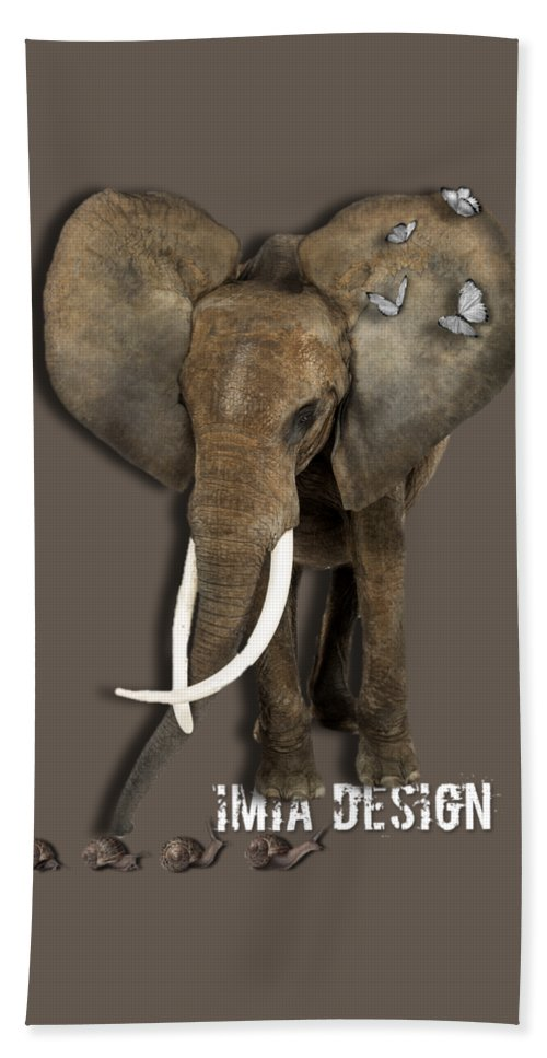 Imia Design Hand Towel featuring the digital art Elephant No 04 by Maria Astedt