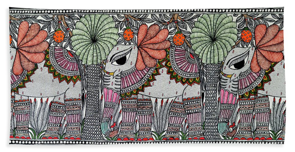 Bath Sheet featuring the painting Elephants 1 by Prerna