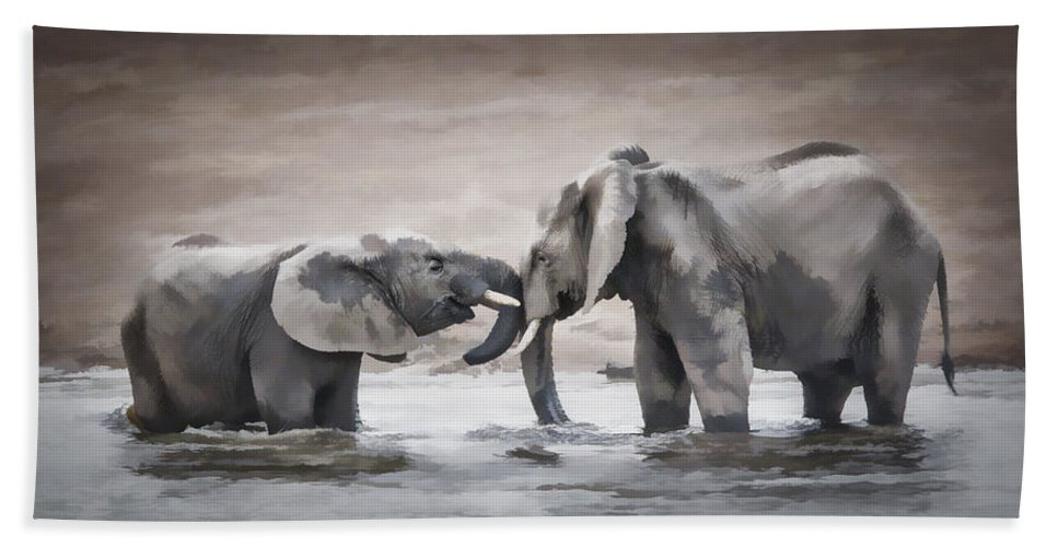 Elephant Bath Sheet featuring the photograph Elephants From Africa by Ronel Broderick
