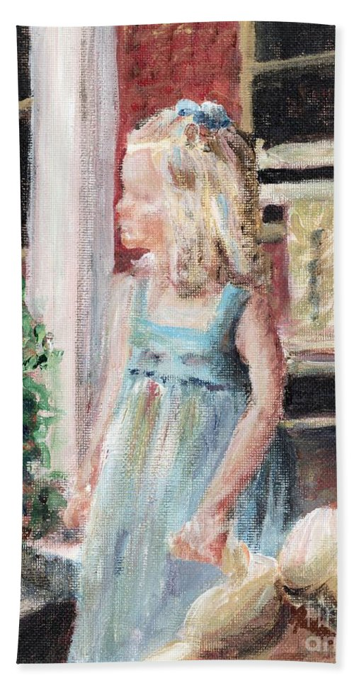 Girl Hand Towel featuring the painting Elizabeth Anne by Nadine Rippelmeyer