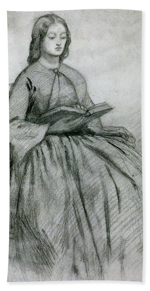 Dante Gabriel Rossetti 1828�1882  Elizabeth Siddall In A Chair Bath Towel featuring the painting Elizabeth Siddall In A Chair by Gabriel Rossetti