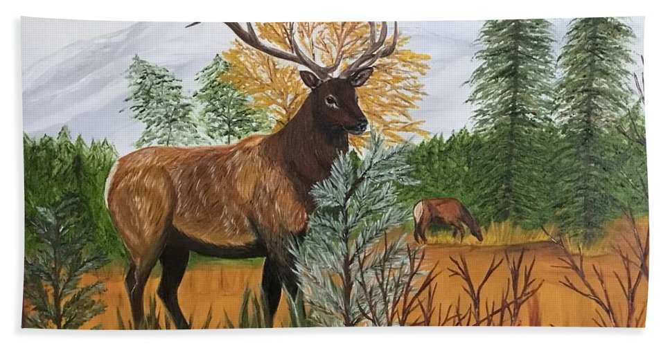 Elk Painted In Oils Bath Sheet featuring the painting Elk by Francine Spagnuolo