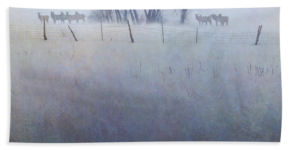 Art Bath Sheet featuring the digital art Elk On The Hill by R christopher Vest