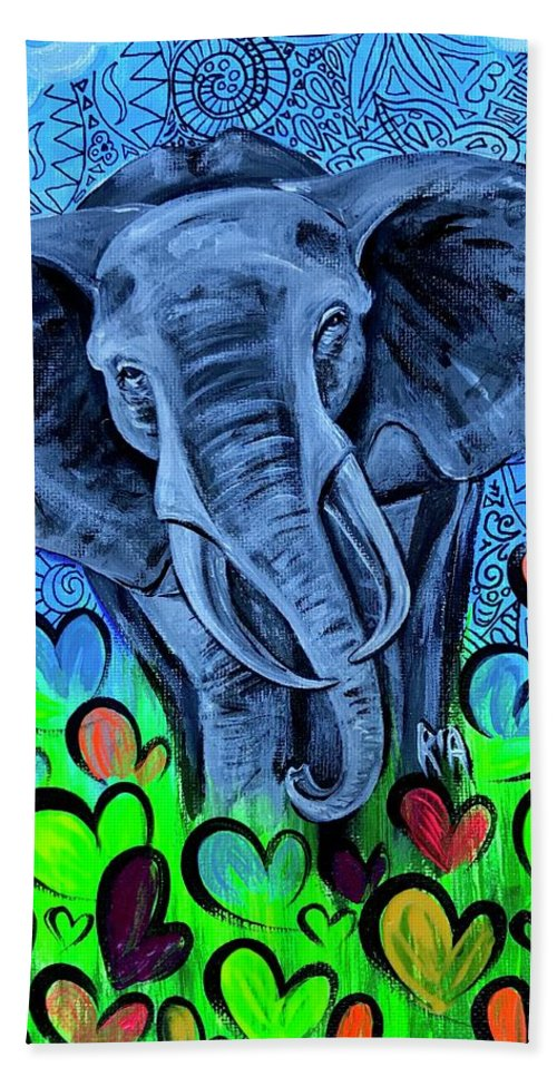 Elephant Bath Towel featuring the painting Elley by Artist RiA