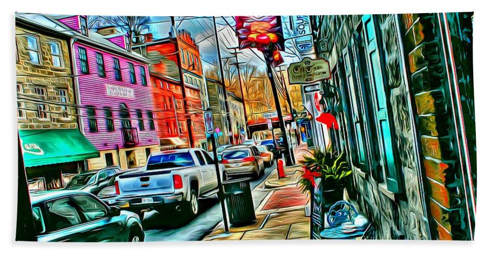 Ellicott Hand Towel featuring the digital art Ellicott City Street by Stephen Younts