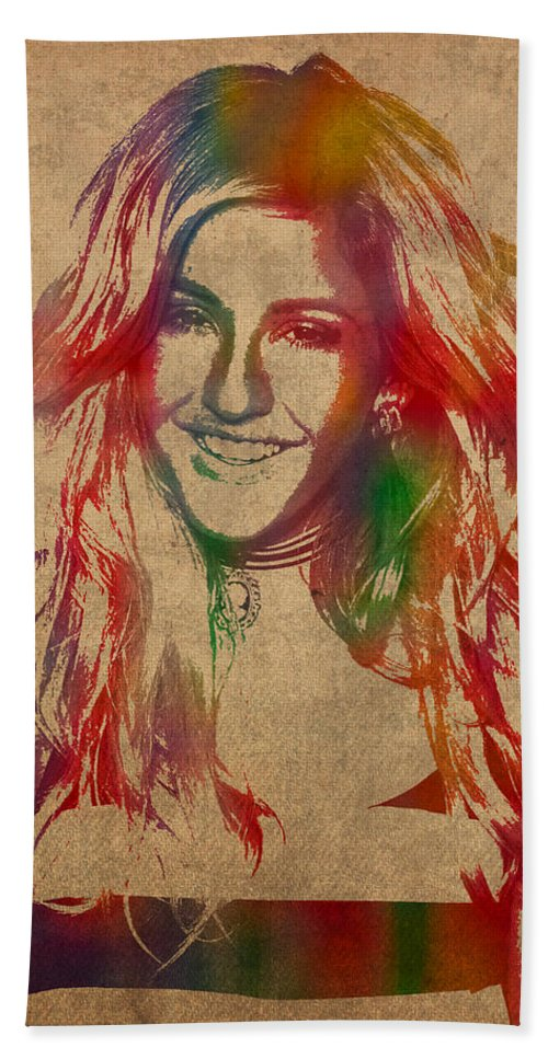 Ellie Goulding Hand Towel featuring the mixed media Ellie Goulding Watercolor Portrait by Design Turnpike