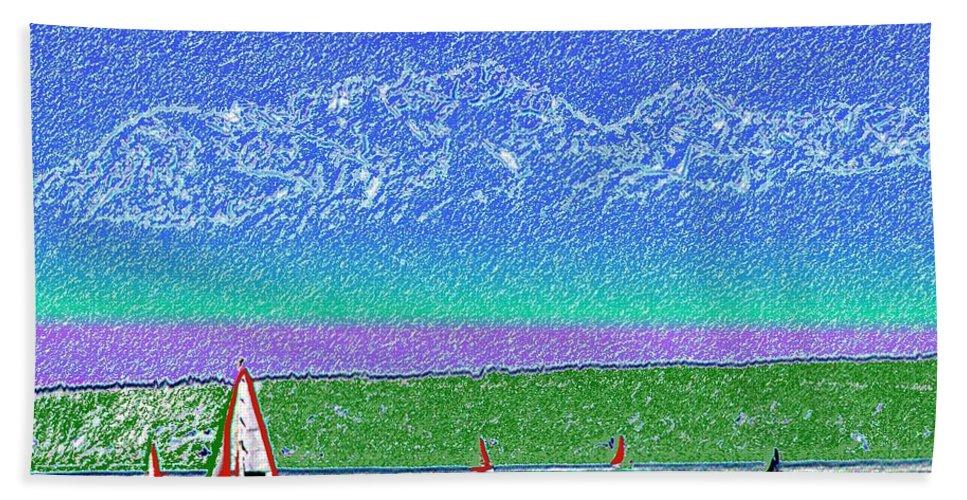 Seattle Bath Sheet featuring the digital art Elliott Bay Sail by Tim Allen