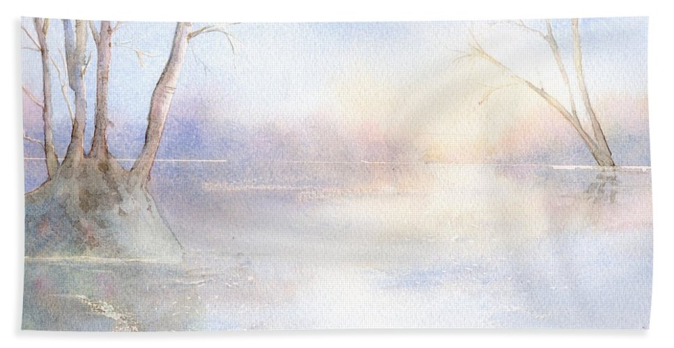 Water Birch Trees Pond Park Sunlight Reflections In Water Winter Scene Bright Winters Day. Trees Winter Trees Lake Landscape Staffordshire Cannock Chase West Midlands Uk Bath Sheet featuring the painting Elmore Park In Winter by Kim Hamilton