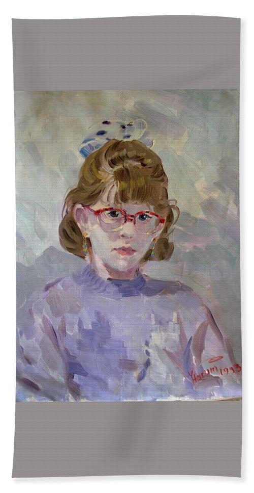 Portrait Bath Sheet featuring the painting Elona by Ylli Haruni