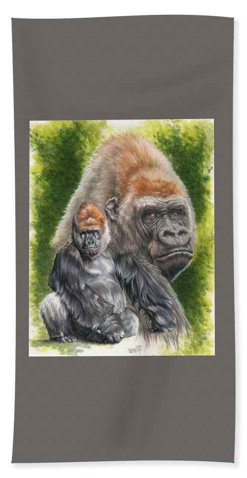 Gorilla Bath Sheet featuring the mixed media Eloquent by Barbara Keith