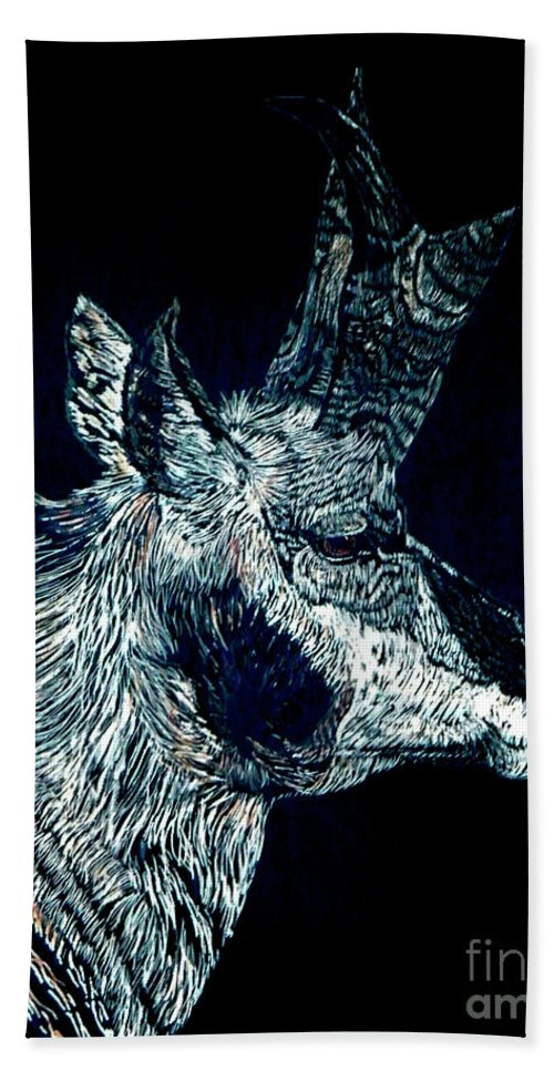 Wildlife Hand Towel featuring the mixed media Elusive Visions Antelope Buck by Dale Jackson