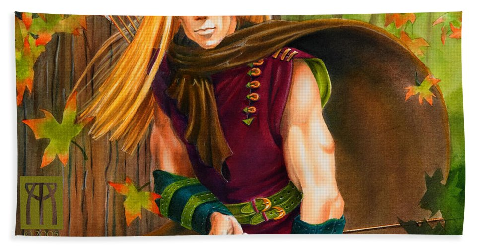Elf Bath Towel featuring the painting Elven Hunter by Melissa A Benson