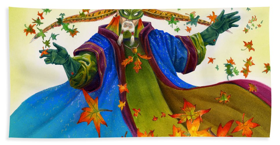 Elf Bath Towel featuring the painting Elven Mage by Melissa A Benson