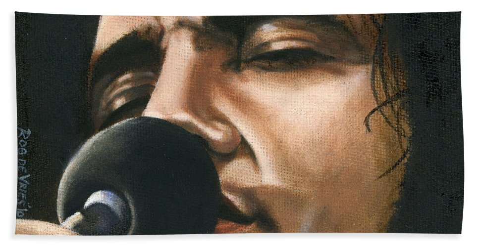 Elvis Hand Towel featuring the painting Elvis 24 1972 by Rob De Vries