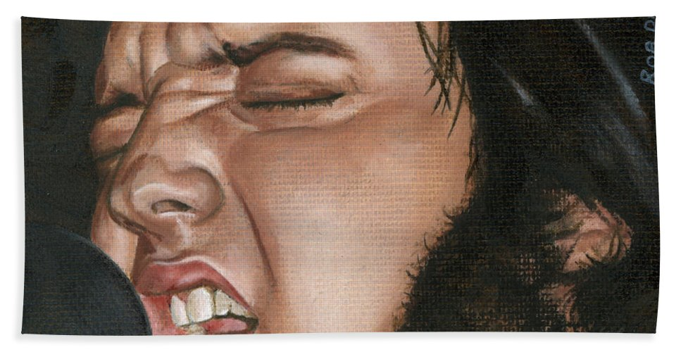 Elvis Hand Towel featuring the painting Elvis 24 1977 by Rob De Vries